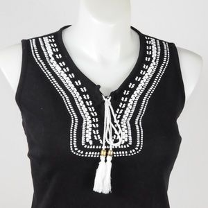 Kim Rogers - Black White Embroidery Top - Size 1X